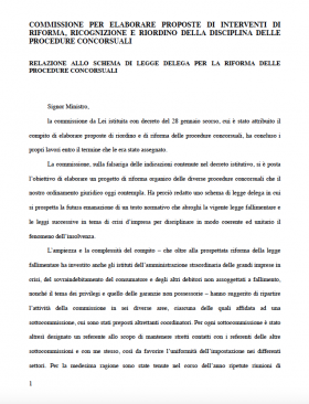 Riforma Commissione Rordorf procedure concorsuali 2015 - Studio Corbello